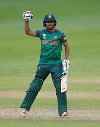 Bangladesh's Mosaddek Hossain celebrates hitting the winning runs against New Zealand during the ICC Champions Trophy, Group A match at Sophia Gardens, Cardiff.