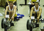 © Peter Spurrier/Sports Photo +44 (0) 7973 819 551.PPP Healthcare British Indoor Rowing Championships.18th Nov. 2001.National Indoor Arena...Matt Pinsent and James Cracknell (R) matching each other, stroke for stroke, in the early stages of their race at the British Indoor Rowing Championships at the National Indoor Area at Birmingham... ........... [Mandatory Credit: Peter SPURRIER/Intersport Images]<br /> <br /> 20011118 British Indoor Rowing Championships, Birmingham.