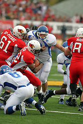 13 October 2007: Geno Blow struggles to get a few yards in the middle. The Indiana State Sycamores were jacked 69-17 by the Illinois State Redbirds at Hancock Stadium on the campus of Illinois State University in Normal Illinois.