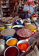 Abdullah Al Atteig provides the Bedouin with herbs, pigments, spices, thread and weaving supplies at his shop in Sakakah.
