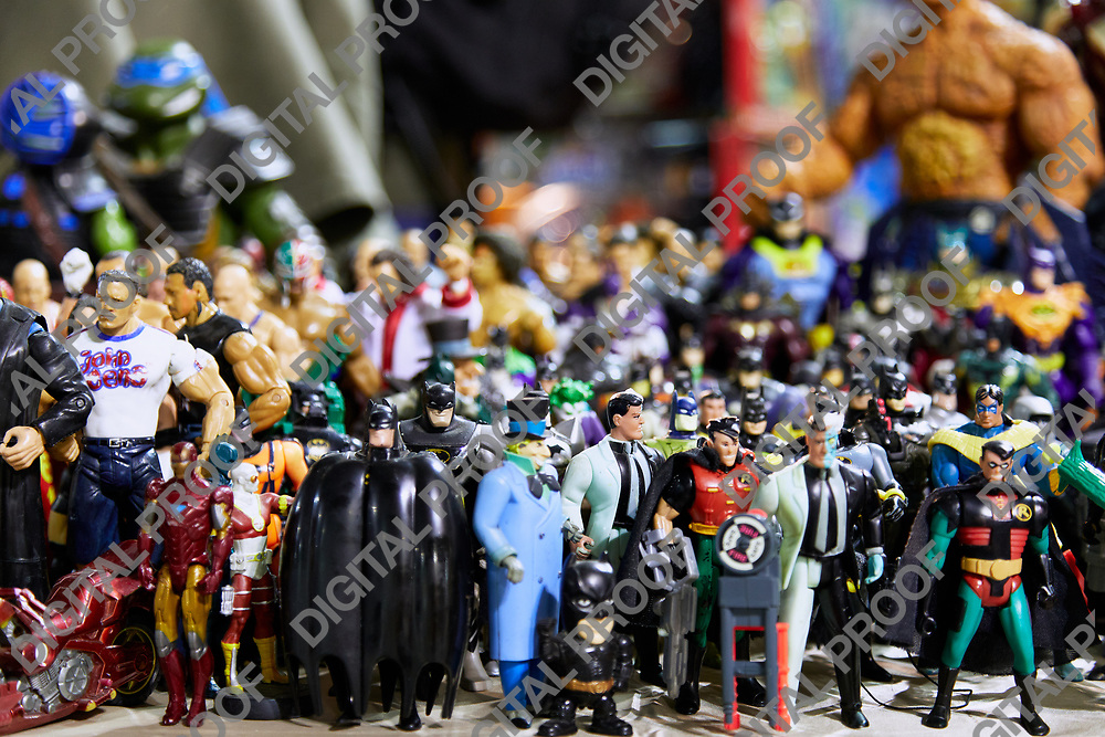 Milan, Italy - March 8 2019 Cartoomics Comic Con  Figurines collection and action figures at sale by expositors