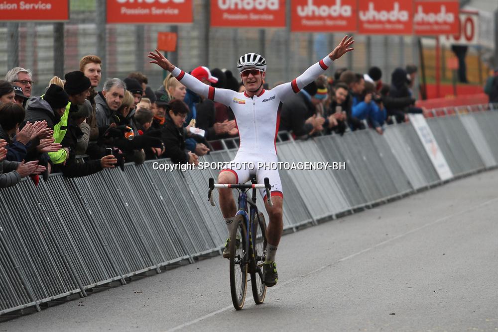 26-12-2019: Wielrennen: Wereldbeker veldrijden: Zolder<br />Swisse rider Kevin Kuhn wins worldcup race U23 at cirucuit Terlamen. 2nd Antoine Benoist and 3th Loris Roullir