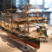 A 1:48 scale model of the corvette Afonso de Albuquerque, a 1110-ton combined propulsion vessel built in 1884. She was the first Portuguese ship built with electric lighting and served mostly in Angola and Mozambique before returning to Lisbon in 1901 and being paid off in 1909. The Museu de Marinha (Maritime Museum of Navy Museum) focuses on Portuguese maritime history. It features exhibits on Portugal's Age of Discovery, the Portuguese Navy, commercial and recreational shipping, and, in a large annex, barges and seaplanes. Located in the Belem neighborhood of Lisbon, it occupies, in part, one wing of the Jerónimos Monastery. Its entrance is through a chapel that Henry the Navigator had built as the place where departing voyagers took mass before setting sail. The museum has occupied its present space since 1963.