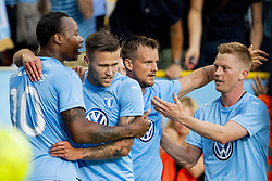 August 1, 2018 - MalmÅ, Sweden - 180801 Carlos Strandberg, Eric Larsson and Anders Christiansen celebrates with Arn—r Ingvi Traustason of MalmÅ¡ FF after he scored 1-1 during the UEFA Champions League qualifying match between MalmÅ¡ FF and Cluj on August 1, 2018 in MalmÅ¡..Photo: Ludvig Thunman / BILDBYRN / kod LT / 35511 (Credit Image: © Ludvig Thunman/Bildbyran via ZUMA Press)