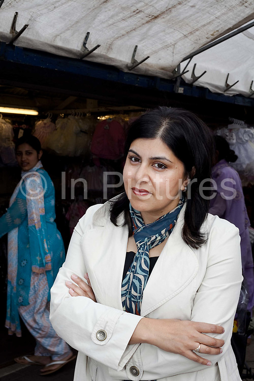 Baroness Sayeeda Warsi in Dewsbury Market. Being an entrepreneurial Muslim and daughter of an immigrant factory owner the shadow minister for community cohesion and social action, Baroness Warsi from Dewsbury, is seen by some Tories as one of the figureheads for the modern Tory party.