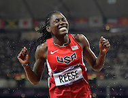 United States' Brittney Reese reacts after winning Gold in the Women's Long Jump Final at the London 2012 Summer Olympics on August 8, 2012 in Stratford, London. Reese won Gold with a maximum jump of 7.12M in the final.  (UPI)
