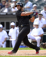 CHICAGO - AUGUST 25:  Jose Abreu #79 of the Chicago White Sox bats against the Texas Rangers during Players Weekend on August  25, 2019 at Guaranteed Rate Field in Chicago, Illinois.  (Photo by Ron Vesely)  Subject:   Jose Abreu