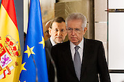 Mario Monti and Mariano Rajoy entering press conference