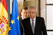 Mario Monti and Mariano Rajoy entering press conference