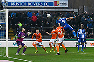 Josh Barrett (39) of Bristol Rovers shoots a headed shot at goal during the EFL Sky Bet League 1 match between Bristol Rovers and Blackpool at the Memorial Stadium, Bristol, England on 15 February 2020.