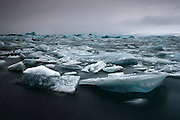 Icebergs floating in the glacial lagoon of Jökulsárlón in South-East Iceland.