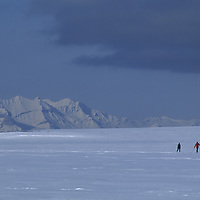 Polar X-C skiers cross snowy valley in race from Barentsburg to Longyearbyen.