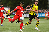 Josh Koroma of Leyton Orient (19) takes a shot during the Vanarama National League match between Harrogate Town and Leyton Orient at Wetherby Road, Harrogate, United Kingdom on 22 September 2018.