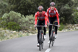 December 15, 2017 - Majorca, SPAIN - Belgian Jens Debusschere of Lotto Soudal and Belgian Tiesj Benoot of Lotto Soudal pictured in action during a press day during Lotto-Soudal cycling team stage in Mallorca, Spain, ahead of the new cycling season, Friday 15 December 2017. BELGA PHOTO DIRK WAEM (Credit Image: © Dirk Waem/Belga via ZUMA Press)