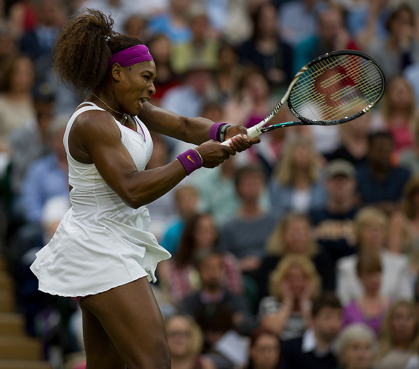 Serena Williams USA (6) in action today during her victory over Petra Kvitova CZE (4) in their Ladies' Singles Quarterfinals match..Tennis - Wimbledon Lawn Tennis Championships - Day 8 - Tuesday 3rd July 2012 -  All England Lawn Tennis and Croquet Club - Wimbledon - London - England...