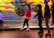 Madeline Rosonke skates during Adult Retro Skate at SkateDaze roller skating rink located at 3616 S 132nd St, on Tuesday, February 05, 2019. CHRIS MACHIAN/
