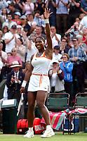 Serena Williams (USA) celebrates her victory over Jennifer Capriati (USA) Wimbledon Tennis Championship, Day 7, 30/06/2003. Credit: Colorsport / Matthew Impey DIGITAL FILE ONLY