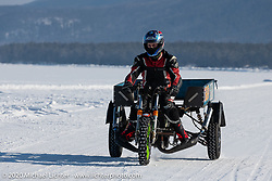 Tula Racing Team's Dmitrii Obrazumov on his Muravey scooter trike at the Baikal Mile Ice Speed Festival. Maksimiha, Siberia, Russia. Friday, February 28, 2020. Photography ©2020 Michael Lichter.