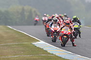 Leader on Lap 1 and eventual race winner #93 Marc Marquez, Spanish: Repsol Honda Team from #43 Jack Miller, Australian: Alma Pramac Racing Ducati during racing on the Bugatti Circuit at Le Mans, Le Mans, France on 19 May 2019.