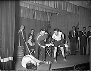 20/03/1959<br /> 03/20/1959<br /> 20 March 1959<br /> Gael Linn singing competition and concert at Dungannon, Co. Tyrone.  Image shows a scene from a sketch or play being performed at St. Patrick's Hall as part of the concert.