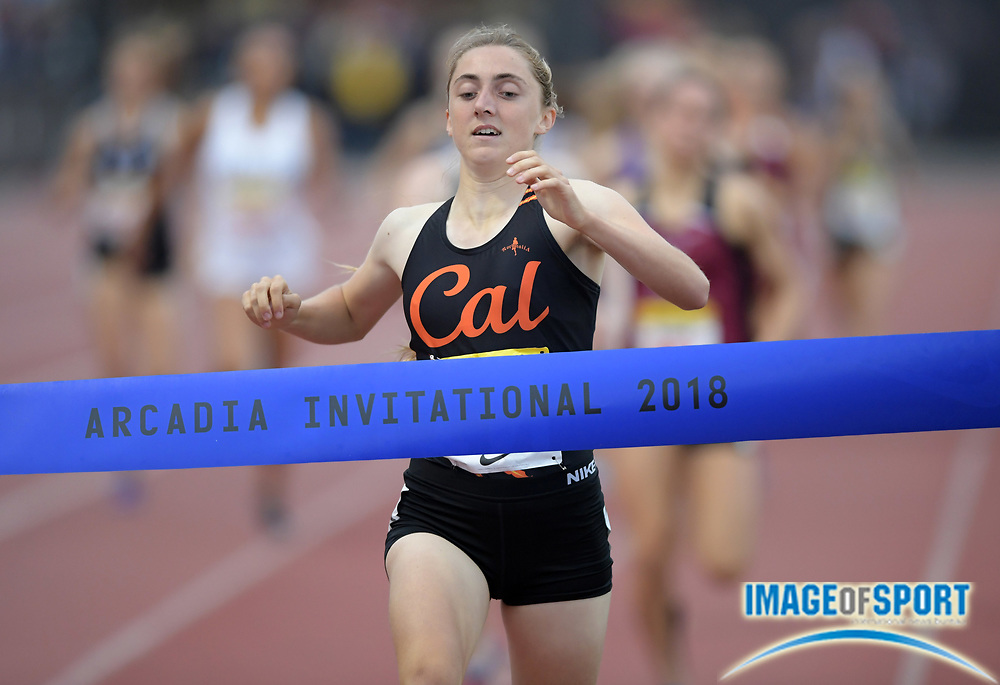 Apr 7, 2018; Arcadia, CA, USA; Alyssa Brewer (348) of California wins the girls 800m in 2:09.81 during the 51st Arcadia Invitational at Arcadia High.