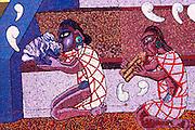 MEXICO, MEXICO CITY, MURALS Diego Rivera mural shows Aztec figures