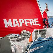 """© María Muiña I MAPFRE: Antonio """"Ñeti"""" Cuervas-Mons entrenando a bordo del MAPFRE. Antonio """"Ñeti"""" Cuervas-Mons training on board MAPFRE."""