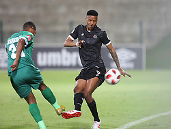 02102018 (Durban) Amazulu player Thembela Sikhakhane defend a ball from Bokang Thlone of Maritzburg United during the game when AmaZulu FC takes head on their KwaZulu-Natal rivals Maritzburg United in an Absa Premiership match at the King Zwelithini Stadium in Durban on Tuesday night. Usuthu extended their winless run to three league games when they lost 2-0 to Kaizer Chiefs away in their previous match over a week ago and after losing 6 points.<br /> Picture: Motshwari Mofokeng/African News Agency (ANA)