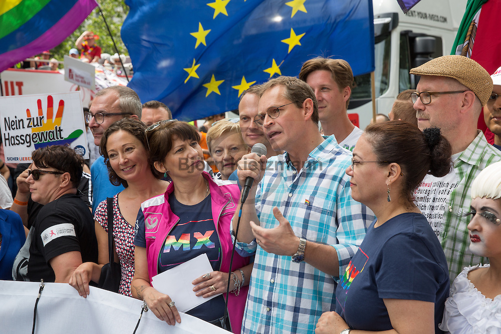 """Berlin, Germany - 23.07.2016<br /> <br /> The Governing Mayor of Berlin, Michael Mueller, at the start of the Christopher Street Day 2016 in Berlin. Hundreds of thousands of people protesting and celebrating in Berlin Pride under motto """"Thanks for nothing""""<br /> <br /> Der Regierende Buergermeister von Berlin, Michael Mueller, beim Start des Christopher Street Day 2016 in Berlin. Hunderttausende Menschen protestieren und feiern bei der Berlin Pride unter Motto """"Danke fuer nix""""<br /> <br /> Photo: Bjoern Kietzmann"""