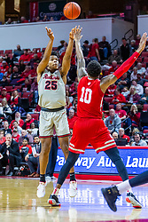 NORMAL, IL - February 26: Jaycee Hillsman shoots a three from the top of the key over Elijah Childs during a college basketball game between the ISU Redbirds and the Bradley Braves on February 26 2020 at Redbird Arena in Normal, IL. (Photo by Alan Look)