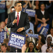 Presedential candidate Barack Obama pauses during a speech Thursday at Minges Coliseum in Greenville. (Jason A. Frizzelle)