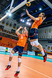 Gijs van Solkema of Netherlands, Luuc van der Ent of Netherlands in action during the CEV Eurovolley 2021 Qualifiers between Croatia and Netherlands at Topsporthall Omnisport on May 16, 2021 in Apeldoorn, Netherlands