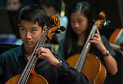 Members of the Orchestra perform before a renaming ceremony at Bob Lanier Middle School, September 21, 2016.