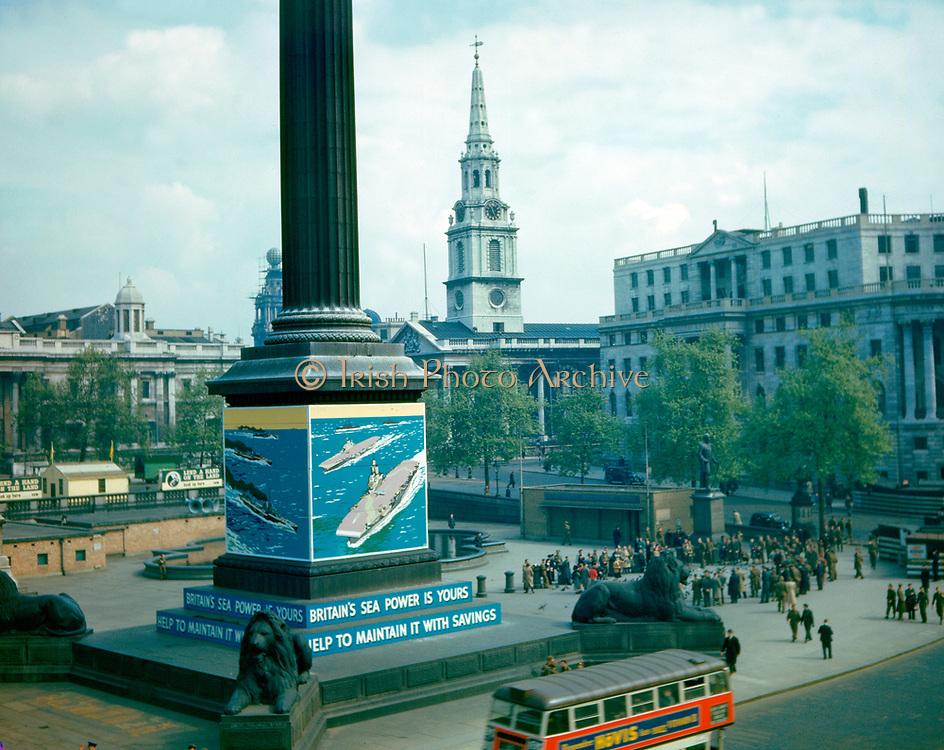 World War 11 1939-45.  Trafalgar Square , london during World War II colour photograph.