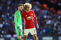 Marouane Fellaini of Manchester United and David De Gea of Manchester United - Mandatory byline: Jason Brown/JMP - 07966386802 - 07/08/2016 - FOOTBALL - Wembley Stadium - London, England - Leicester City v Manchester United - FA Community Shield