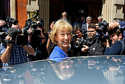 © Licensed to London News Pictures. 04/07/2016. London, UK. Conservative MP Andrea Leadsom surrounded by media as she leaves the launch of her campaign for the leadership of the Conservative party. Photo credit: Ben Cawthra/LNP