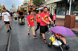 Guests leave the Magic Kingdom at Walt Disney World in Lake Buena Vista, Fla., after the park closed early due to weather spawned by Hurricane Dorian, Tuesday, September 3, 2019. Photo by Joe Burbank/Orlando Sentinel/TNS/ABACAPRESS.COM
