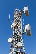 microwave parabolic dish antenna radio link on lattice tower on Mount Inkerman, Queensland, Australia <br /> <br /> Editions:- Open Edition Print / Stock Image