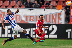 12-05-2018 NED: FC Utrecht - Heerenveen, Utrecht<br /> FC Utrecht win second match play off with 2-1 against Heerenveen and goes to the final play off / (L-R) Denzel Dumfries #2 of SC Heerenveen, Urby Emanuelson #18 of FC Utrecht