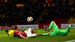 Gustav Engvall of Bristol City is tackled by Molla Wague of Watford - Mandatory by-line: Robbie Stephenson/JMP - 06/01/2018 - FOOTBALL - Vicarage Road - Watford, England - Watford v Bristol City - Emirates FA Cup third round proper