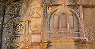 """Pictures & images of Kalburlu (St. Epthemios) church decorative sculptures, 9th century, the Vadisi Monastery Valley, """"Manastır Vadisi"""",  of the Ihlara Valley, Guzelyurt , Aksaray Province, Turkey.<br /> <br /> Kalburlu (St. Epthemios) church dates back to the 9th or 10th century. It is carved out of a single rock massive with rock columns holding up the roof of its church . The arches of Kalburlu (St. Epthemios) church have rich architectural decorated relif sculptures. The naves are connected by rounded arches & there is a baptismal font to the east of the main entrance. .<br /> <br /> If you prefer to buy from our ALAMY PHOTO LIBRARY  Collection visit : https://www.alamy.com/portfolio/paul-williams-funkystock/vadisi-monastery-valley-turkey.html<br /> <br /> Visit our TURKEY PHOTO COLLECTIONS for more photos to download or buy as wall art prints https://funkystock.photoshelter.com/gallery-collection/3f-Pictures-of-Turkey-Turkey-Photos-Images-Fotos/C0000U.hJWkZxAbg"""