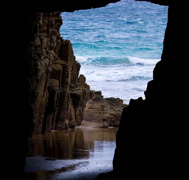 Remarkable Cave, Tasman Peninsula, Tasmania. It gets its name because when the tide is out, the cave is the shape of Tasmania!..