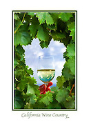 Grape leaves heart and toast glass - California Wine Country - WineArt card