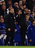 Antonio Conte, the manager of Chelsea reacts in frustration and gestures he is not happy with the 4 minutes of extra time .Premier league match, Chelsea v Manchester United at Stamford Bridge in London on Sunday 5th November 2017.<br /> pic by Andrew Orchard sports photography.