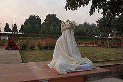 A Buddhist meditates next to the tree where Buddha got his Enlightment, cloaked in white. In many Asian cultures, white clothing is worn as a sign of mourning. It is the traditional color of funeral garb. Buddhists from Sri Lanka, Thailand, Burma, Tibet, Bhutan and Japan have  been streaming to the holy city, circumambulating the temple, performing prostrations and offering prayers in a multitude of languages.