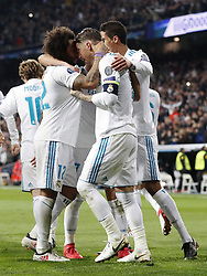 (L-R) Luka Modric of Real Madrid, Marcelo of Real Madrid, Sergio Ramos of Real Madrid, Raphael Varane of Real Madrid during the UEFA Champions League round of 16 match between Real Madrid and Paris Saint-Germain at the Santiago Bernabeu stadium on February 14, 2018 in Madrid, Spain