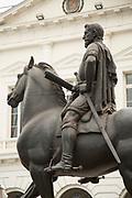 Statue of Pedro de Valdivia on horse in front of the building, Plaza de las Armas, Santiago, Chile