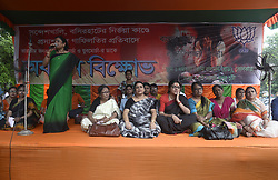August 5, 2017 - Kolkata, West Bengal, India - Women and youth leaders and activists join this sit in program in Kolkata. Bharatiya Janta Party Mohila Morch and Yuva Morcha hold a sit in protest to protest against recent Sandeshkahli incident and State Government on August 5, 2017 in Kolkata. (Credit Image: © Saikat Paul/Pacific Press via ZUMA Wire)