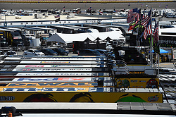 September 14, 2018 - Las Vegas, NV, U.S. - LAS VEGAS, NV - SEPTEMBER 14: A general view of the car haulers as they fly flags during practice for the South Point 400 Monster Energy NASCAR Cup Series Playoff Race on September 14, 2018 at Las Vegas Motor Speedway in Las Vegas, NV. (Photo by Chris Williams/Icon Sportswire) (Credit Image: © Chris Williams/Icon SMI via ZUMA Press)