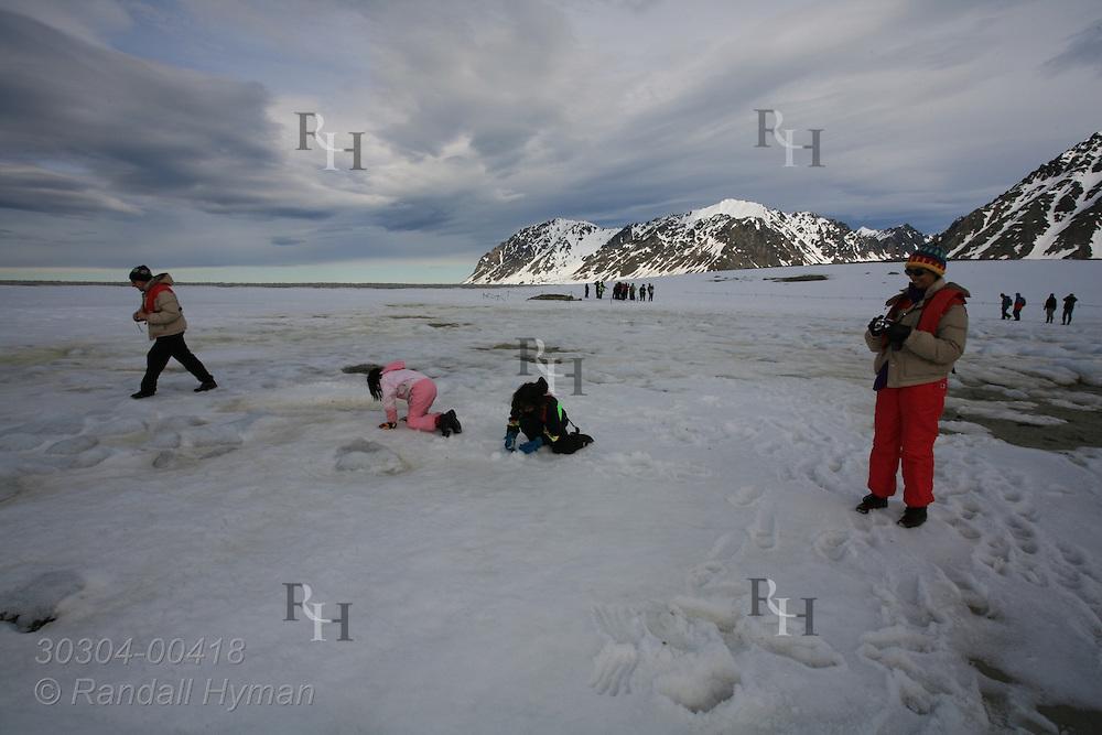 Child passengers from Hurtigruten's MV Nordstjernen play in snow in July on Arctic shores of Magdalenafjorden; Svalbard, Norway.